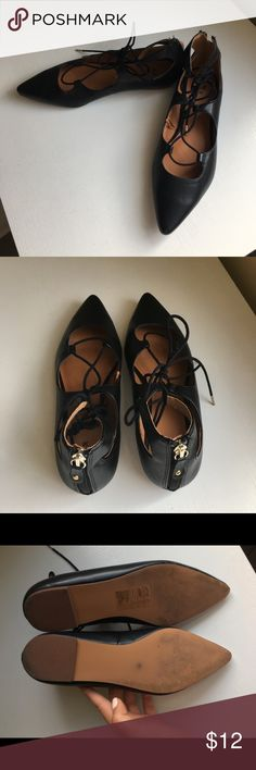 Black tie up flats. Size 7 Black tie up flats with a zipper detail in the black. Worn only once. Size 7 H&M Shoes Flats & Loafers