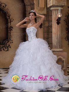 white quinceanera dresses from mexico | Nogales Mexico Embroidery With Beading Ruffles White Floor-length Ball ...