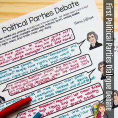 Engage your students with a puppet debate between Hamilton and Jefferson! After reading about the point of view of the Democratic-Republicans and the Federalists, your students will create a Puppet Show Debate to perform to their classmates. Social Studies Curriculum, Social Studies Classroom, Special Education Classroom, Political Party, Political Science, Social Science, Middle School Classroom, High School Students, Instructional Strategies