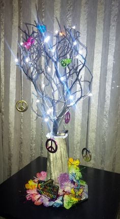 Party Centerpiece with LED Lights for Birthday or Events. For info visit C&C Custom Creations on Facebook.