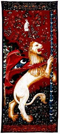 Portiere Lion Tapestry - The lion is a symbol of bravery, strength, royalty and power. The very finest tapestries woven during the Medieval ages were of the lion, the unicorn and the fair maiden.  Si...
