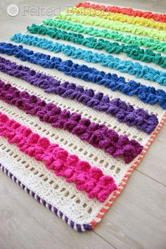 Ruffled Ribbons Blanket and Rug crochet pattern FOR SALE by Susan Carlson of Felted Button
