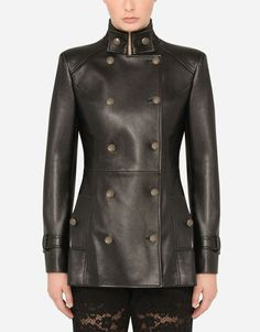 LEATHER PEACOAT Coats For Women, Clothes For Women, Stretch Satin, Military Jacket, Personal Style, Women Wear, Black Leather, Leather Jacket, How To Wear