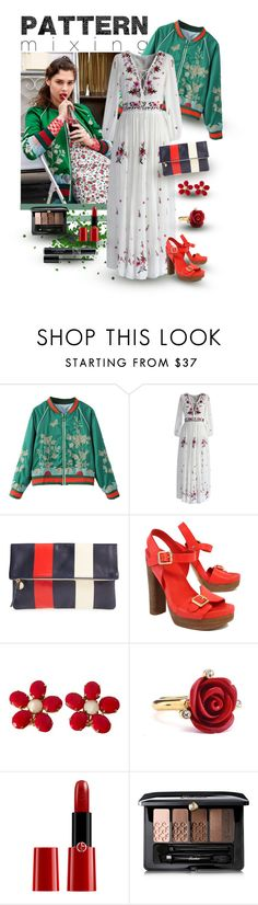 """""""Pattern Mixing - Red, Green, White"""" by giovanina-001 ❤ liked on Polyvore featuring WithChic, Chicwish, Clare V., Tory Burch, Schreiner, Oscar de la Renta, Giorgio Armani, Guerlain and Christian Dior"""