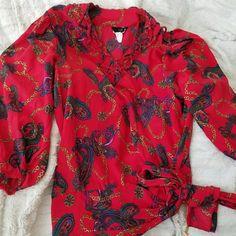 Spotted while shopping on Poshmark: Vintage Diane Freis Red Silk Chains Paisley Top! #poshmark #fashion #shopping #style #Diane Freis #Tops