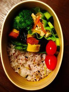 Spam egg maki Bento  Spam& egg wrapped with seaweed, Fried broccoli sesame oil, daikon tofu  shiitake carrot stir fry, pickled cucumber, cherry tomato