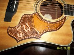 Hand Tooled Leather Monogrammed Guitar Pick Guard