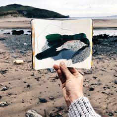 Abstract Watercolor, Abstract Landscape, Landscape Paintings, Landscapes, Sketchbook Inspiration, Art Sketchbook, Notebook Art, Art Techniques, Art Studios