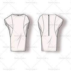 Women's Long Dolman Blouse Fashion Flat Template