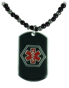 Black-Metal Medical Necklace  (gallegos girls necklace with my-medical-id tag