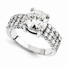 14K White Gold 2.10CT Round Brilliant Cut Moissanite Center Engagement Wedding Ring