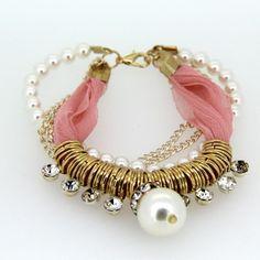 185mm Korea Style Women Pink Bracelets Alloy Imitation Pearl Multilayer Bangle Bracelet for Girls Charm Jewelry