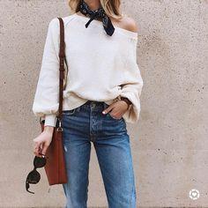 bandana neck scarf | outfit | off shoulder sweater | denim | leather shoulder bag | casual