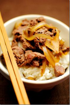 Yoshinoya Beef Bowl- My childhood fav when I lived in Japan!  Made this on Saturday and it was sooooo good!  Boys went nuts!
