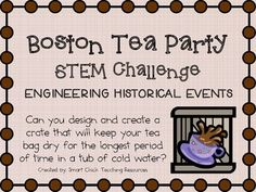 Boston Tea Party ~ Engineering Historical Events ~ STEM Challenge You are in the right place about Social Study for toddlers Here we offer you the most beautiful pictures about the Social Study univer 3rd Grade Social Studies, Social Studies Classroom, Social Studies Activities, Teaching Social Studies, Teaching History, Teaching Science, Stem Activities, Teaching Resources, Teaching Ideas