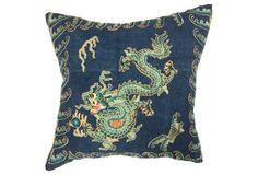 Embroidered Emperor Dragon Pillow