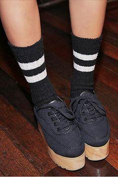 Two-Line Wool Knit Socks