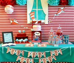 Dr. Seuss Party banner by serendipity soiree, love the cat peeking in the fake window