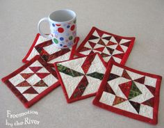 Mug Rugs from Freemotion by the River  http://www.conniekresin.com/2012/12/scraps-into-mug-rugs.html
