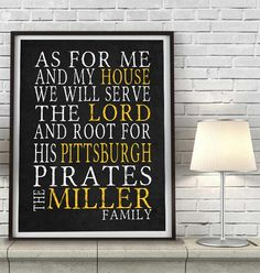 """Pittsburgh Pirates baseball Personalized Art Print- """"As for Me"""" Parody-Unframed Print"""