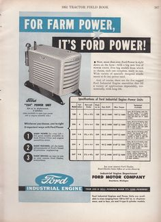 1951 Ford Motor Co Dearborn MI Ad: Ford 254 Power Unit for Farm Power #Ford