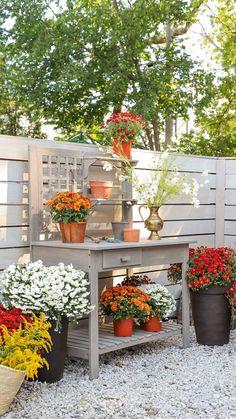 Camrose Farmhouse Outdoor Potting Bench via BHG Live Better influencer @ispydiy. #autumn #fall #gardening #decor #mums #fallgardenideas #pottingbench #fallactivites