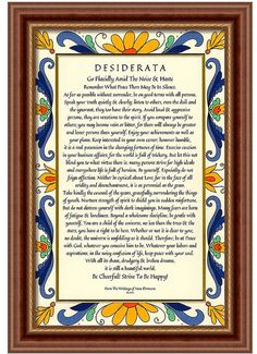 Desiderata Poem 11 x 17 Satin Finish Art Card. Abstract Soylent Green Design Printed on Heavy Card Stock. The Desiderata Poem by Max Ehrmann. These Words of Wisdom to live by are a timeless message to share with Family & Friends. It is an Inspirational Gift in these troubled times. ***ONLY 50 cents shipping in each additional poster*** (the framed piece is available by Special Order=approx. $200)