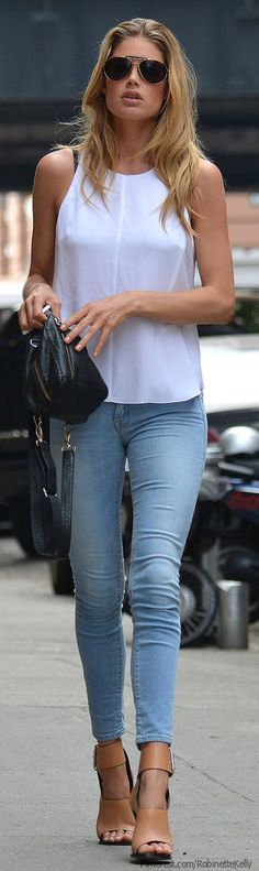 Deluxe Denim - Doutzen Kroes  jeans, nude heels, simple white tank ● ♔LadyLuxury♔