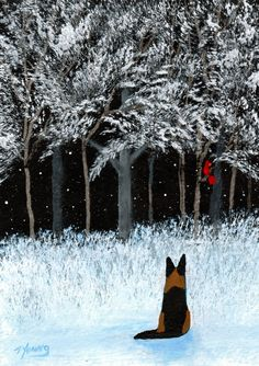 Folk Art Prints | German Shepherd Dog LARGE Folk art print by Todd Young WINTER CARDINAL