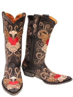 Very Popular! Old Gringo Abby Rose Black & Pink Womens Cowboy Boot ...