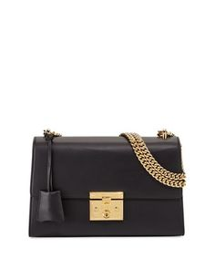 Padlock Leather Shoulder Bag, Black by Gucci at Neiman Marcus.