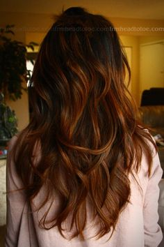 Dark brown balayage. Gotta try this when my hair gets a bit longer!