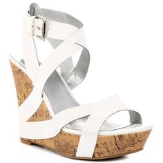 Edgee - White wedge sandal with swooping straps and cork platform White Wedge Sandals, Leather Wedge Sandals, Wedge Heels, White Wedges, Summer Sandals, Shoe Boots, Shoe Bag, Shoes Heels Wedges, Designer Heels