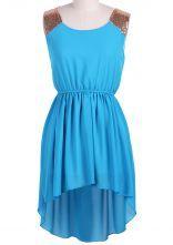 Blue Sleeveless Sequined Shoulder High Low Dress $29.90