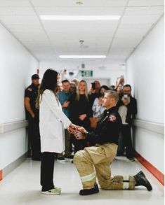 Firefighter proposes to doctor in the exact place where met in the hospital / Emergency Room hallway. Photos by Abbi Cooley Firefighter and Doctor Proposal Romantic Proposal, Proposal Photos, Perfect Proposal, Proposal Ideas, Surprise Proposal Pictures, Romantic Weddings, Little Do You Know, Wedding Proposals, Marriage Proposals