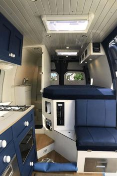 Camper Van Interiors That Could Replace A Tiny Home - House Topics : Camper van projects are trending mostly because of affordable price & easy way to travel and explore new things. Van Conversion Interior, Camper Van Conversion Diy, Sprinter Van Conversion, Van Life, Camping Vans, Family Camping, Camping Gear, Diy Bed, Mercedes Camper