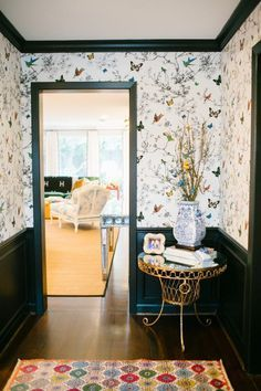 Project Holly Before & After: Entry Hall with Birds & Butterflies wallpaper by Schumacher by Bailey McCarthy of Peppermint Bliss.