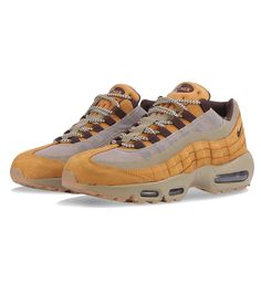 Nike Air Max 95 PRM Bronze / Baroque Brown / Bamboo - Nike This Nike Air Max 95 in Bronze has premium leather uppers, a Mini Swoosh, brown lace holds and dual air units in the midsole and a rugged rubber outsole.