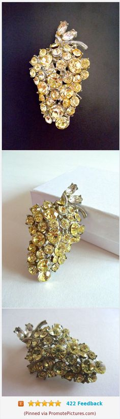 Grape Rhinestone Cluster Brooch-Pin, Jonquil Yellow Fruit, Pewter, Vintage #brooch #grape #fruit #cluster #yellow #rhinestones #jonquil #vintage #pewter https://www.etsy.com/RenaissanceFair/listing/556558164/grape-rhinestone-cluster-brooch-pin?ref=listing-shop-header-0  (Pinned using https://PromotePictures.com)