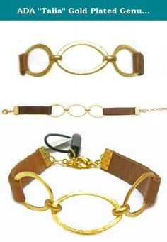 """ADA """"Talia"""" Gold Plated Genuine Tan Leather Fashion Wrap Bracelet With Triple Oval Detail, 7"""". Designer Ada Komorniczak uses her creative eye for fashion and design to create distinctive handcrafted leather pieces. Products are crafted in Argentina by highly skilled professionals who understand quality and create the finest handbags and accessories."""