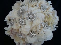 Rhinestone Brooch Bouquet,  Bridal Brooch Bouquet, Hydrangea, Ivory, Cream, Lace, Heirloom, Flower  -  The Nuptial. $324.00, via Etsy.
