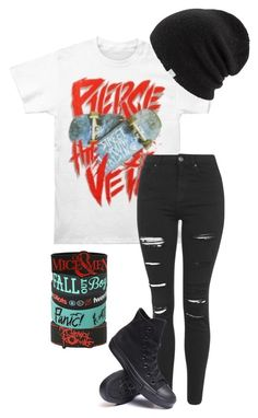"""""""the first punch//pierce the veil"""" by bands-are-my-savior ❤ liked on Polyvore featuring Topshop, Converse and Coal"""