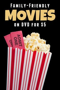 Family-Friendly Movies on DVD for $5 or less! A great way to start or build you DVD collection!