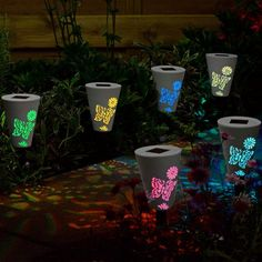 Solalux Set of 6 Colour Changing Silhouette Butterfly Wireless Garden Border LED Solar Post Lights Backyard Solar Lights, Best Solar Lights, Backyard Lighting, Outdoor Lighting, Exterior Lighting, Intelligent Design, Butterfly Lamp, Butterfly Pattern, Courtyard Landscaping