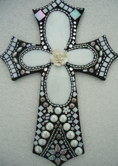 The Bride  Mosaic Cross by BrokenBeautyMosaics on Etsy, $299.00