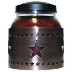 "A Cheerful Giver "" Metal Star Sleeve"" for Papa and Mama Jar Candles ~ This metal sleeve wraps around the candle giving it a rustic touch. It is available in black or copper. Jar candles are sold separately. Made in the USA."
