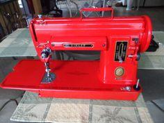 Vintage-Singer-301-Sewing-Machine-Repainted-Apple-Red-Featherweight-Big-Sis