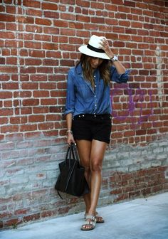 Sincerely Jules: Easy breezy! Homegirl can never do wrong. Denim, Panama hat, black shorts and Birkenstock. #women #fashion
