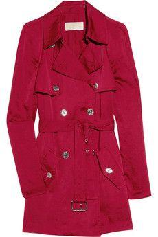MICHAEL Michael Kors red satin trench coat $80!