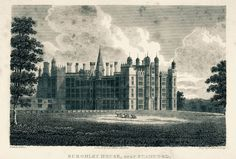 Burleigh House, near Stamford. Engraving with original drawing by Edward Blore (1787-1879)